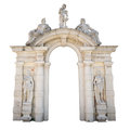 White stone entrance with statues suitable as a frame or border. Royalty Free Stock Photo