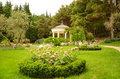 White stone gazebo in the park Stock Image