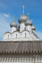 White Stone Orthodox church and fortress wall Royalty Free Stock Photo