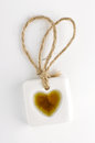 White stone tag with heart symbol Royalty Free Stock Photography
