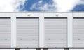 White storage unit or small warehouse for rental Royalty Free Stock Photo