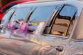 White stretch limousine Royalty Free Stock Photo
