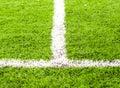 White stripe on the green soccer field Stock Image