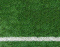 White Stripe Line at The Corner on Artificial Green Soccer Field as Copyspace to input Text from Top View used as Template Royalty Free Stock Photo