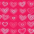 White striped heart on pink background Valentine's day, wedding seamless pattern. vector