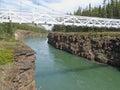 White suspension bridge across Miles Canyon Yukon Royalty Free Stock Photo