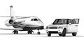 White SUV limousine with a private jet