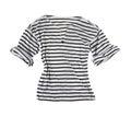 White t shirt black horizontal stripes isolated white background Stock Photo