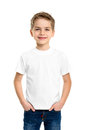 White T-shirt on a cute boy Royalty Free Stock Photo