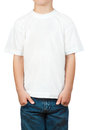 White t-shirt on a little boy Royalty Free Stock Photography