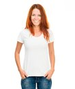 White t shirt smiling girl perfect body Stock Photo