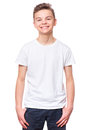 White t-shirt on teen boy Royalty Free Stock Photo