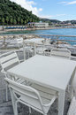 White table near the beach in san terenzo near lerici Royalty Free Stock Photography