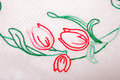 White tablecloth background embroidered flower Royalty Free Stock Photos