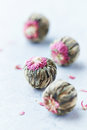 White tea balls with lychee flower Stock Images