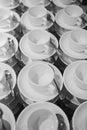 White tea mugs on the table closeup Royalty Free Stock Image