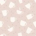 White teacups seamless pattern Royalty Free Stock Photo