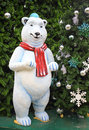 White teddy bear with decorations under the christmas tree Royalty Free Stock Photography