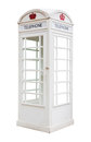 White telephone box isolated on background Stock Image