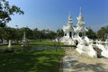 White temple in chiang rai is a contemporary unconventional buddhist thailand it was designed by chalermchai kositpipat Royalty Free Stock Photos
