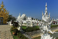 White temple in chiang rai is a contemporary unconventional buddhist thailand it was designed by chalermchai kositpipat Stock Image