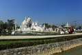 White temple in chiang rai is a contemporary unconventional buddhist thailand it was designed by chalermchai kositpipat Stock Photo