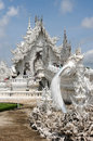 White temple in chiang rai famous landmark of thailand Stock Image