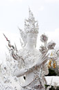 White temple in chiang rai thailand famous landmark of Stock Image