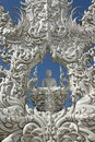 White temple wat rong khun decoration of buddhist monastery at chiang rai thailand Royalty Free Stock Photo