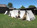 White tents at Civil War camp Stock Images