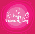 White text with wings Valentine`s Day on a pink background. Greeting card, banner, logo and emblem.