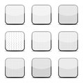 White textured icon templates collection of nine glossy for your application Royalty Free Stock Images