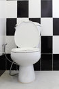 White toilet bowl in the bathroom alternating black and tile backdrop Royalty Free Stock Image