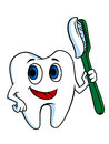 White tooth with tooth brush for hygiene concept Royalty Free Stock Images