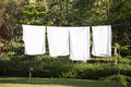 White towels drying on washing line Royalty Free Stock Photo