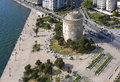 White tower aerial view thessaloniki greece of the whiite square in Royalty Free Stock Images