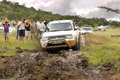 White toyota triton dhd crossing mud obstacle bafokeng march at leroleng x track on march in bafokeng rustenburg south africa Royalty Free Stock Image