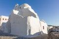 White traditional church in mykonos island greece Stock Image