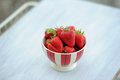 White tray with strawberries Royalty Free Stock Image