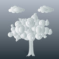 White tree coulds with clouds has a rounded leaves useful as a background Stock Photo
