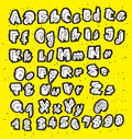 White trendy hand drawn fonts on yellow background illustration is in eps mode Stock Images