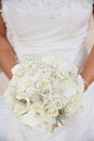 White tropical wedding bouquet bride holding a with small starfish Royalty Free Stock Photos