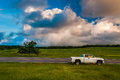White truck along road in Big Meadows, Shenandoah National Park Royalty Free Stock Photo
