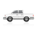 White truck illustration of a pickup with reflection Stock Photography