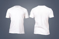 White tshirt template front and back view for your design on dark background Stock Images