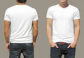 White tshirt on a young man template isolated Royalty Free Stock Images