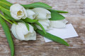 White tulips bouquet and blank greeting card Royalty Free Stock Photo