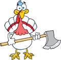 White turkey with ax cartoon character mascot Royalty Free Stock Photo