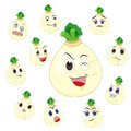 White turnip cartoon with many expressions Stock Photography