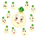 White turnip cartoon with many expressions Royalty Free Stock Photo